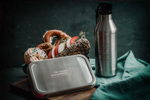 Brotzeit-Set Schule: Bestehend aus Edelstahl-Trinkflasche und Brotdose