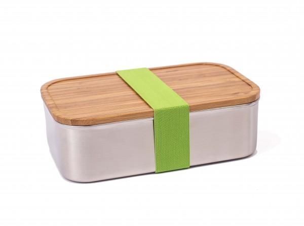 Premium Brotdose Edelstahl XL mit Bambus-Deckel und grünem Band