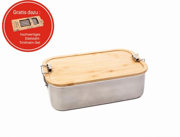 "Lunchbox mit Bambusdeckel ""Junglepicknick Click"" inkl. Trinkröhrchen Set"